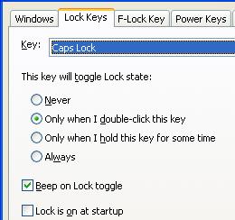 Disable Caps Lock, disable Num Lock, don't allow deactivating Num Lock