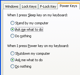 Disable Sleep key, turn Power key off